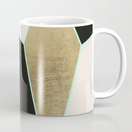 Modern Geometric Faux Gold Pink Black Marble Coffee Mug