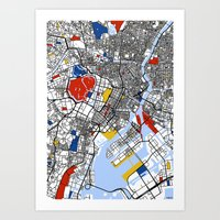 mondrian Art Prints featuring Tokyo Mondrian by Mondrian Maps