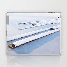 Snow frozen lake, snow covered logs, frozen, Lake, landscape Laptop & iPad Skin