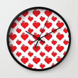 Crown Heart Pattern Red Wall Clock