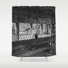 Alone on the rails Shower Curtain