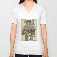 saxophone V-neck T-shirts featuring Space Cat with Saxophone by Felis Simha