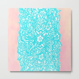 Illustrated Flowers and Leaves - turquoise blue, pink, white Metal Print