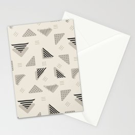 Geometrical black ivory brushstrokes stripes polka dots triangles Stationery Cards