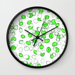 Abstract Green Leaves Wall Clock