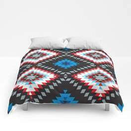 Colorful patchwork mosaic oriental kilim rug with traditional folk geometric ornament. Tribal style Comforters