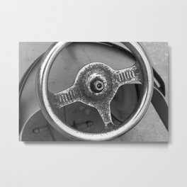 black and white photography monochrome steering wheel toy car vintage Metal Print