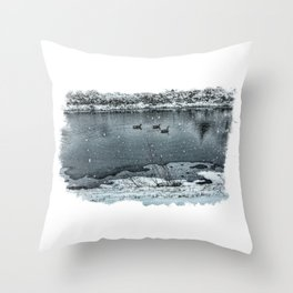 Geese in Rock River Throw Pillow