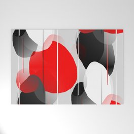Modern Anxiety Abstract - Red, Black, Gray Welcome Mat