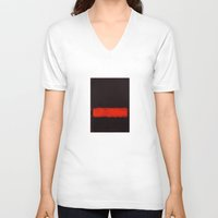 rothko V-neck T-shirts featuring Black, Red and Black 1968 Mark Rothko by Rothko
