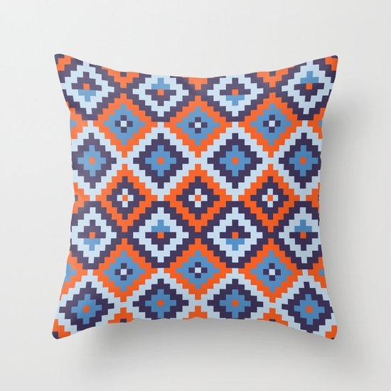 Aztec pattern - orange, blue Throw Pillow