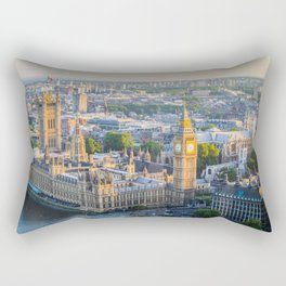 View of Big Ben and Houses of Parliament from London Eye | Europe UK City Urban Landscape Photography Rectangular Pillow