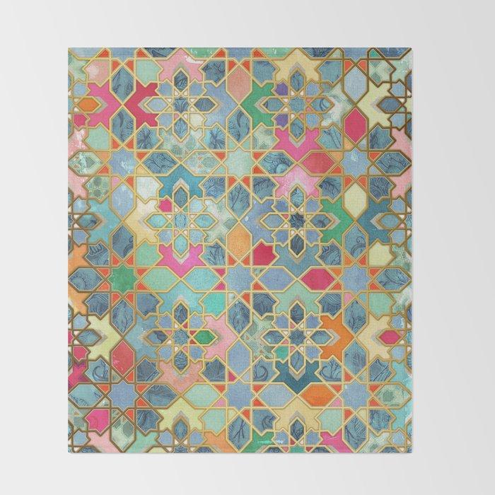 Gilt & Glory - Colorful Moroccan Mosaic Throw Blanket