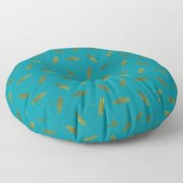Gold Dragonflies Floor Pillow