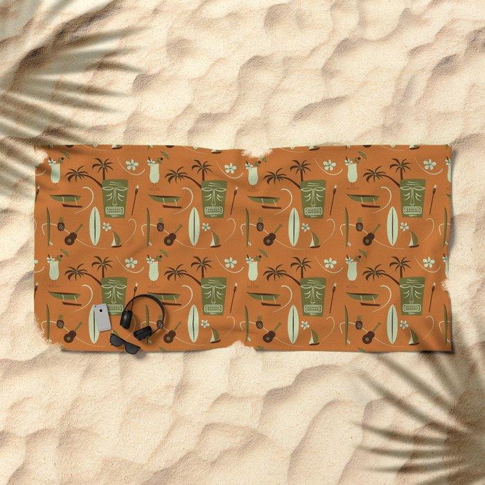 Orange Retro Hawaiian Tiki Hawaii Beach Beach Towel