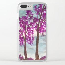 Purple Willows Clear iPhone Case