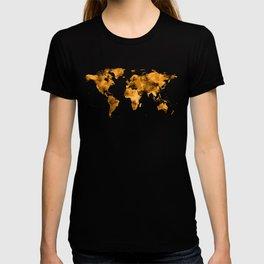 World Map Burnt Orange Brown Vintage T-shirt