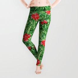 Holly Jolly Christmas Leaves & Berries (Large Pattern) Leggings