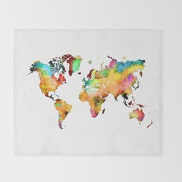 world map 71 Throw Blanket