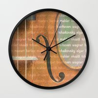 violin Wall Clocks featuring Violin by Imagology
