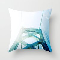 oakland Throw Pillows featuring oakland bay bridge  by Ciara Rose Photography