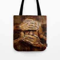 psychology Tote Bags featuring No see - No hear - No speak ! Nothing ! by teddynash