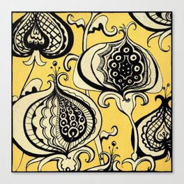 Black and Yellow Floral Canvas Print