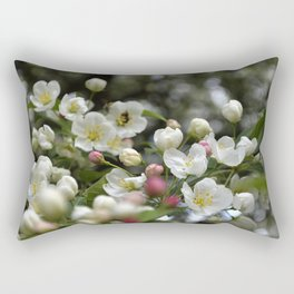Red Buds and White Blossoms Rectangular Pillow