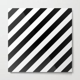 Diagonal Stripes (Black/White) Metal Print