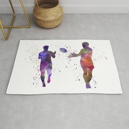 Rugby men players 04 in watercolor Rug
