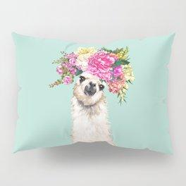 Flower Crown Llama in Green Pillow Sham