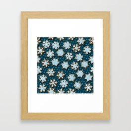Frosted Gingerbread on Winter Night Sky Framed Art Print