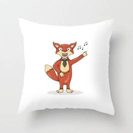 Red fox singing song with black tie. Throw Pillow