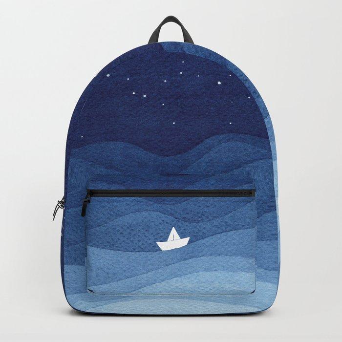 blue ocean waves, sailboat ocean stars Backpack