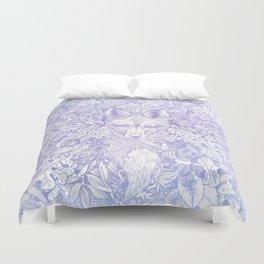 Pastel Purple Hiding Fox Drawing Duvet Cover
