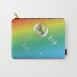 Bubble Cat Floating To The Rainbow Carry-All Pouch