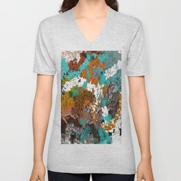 Mixed Up Block Patterns in Aqua, Golds, Browns, Naturals Unisex V-Neck