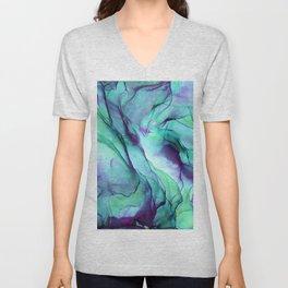 Violet Turquoise Flow - Alcohol Ink Painting Unisex V-Neck