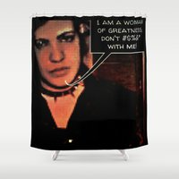 feminism Shower Curtains featuring pop art feminism  by Gotharts