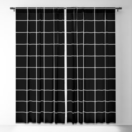 Grid Square Lines Black And White #12 Blackout Curtain