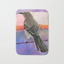 Mockingbird on a Wire Fence In The Sunset Watercolor Art Bath Mat