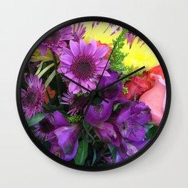 Bouquet of flowers in purple Wall Clock