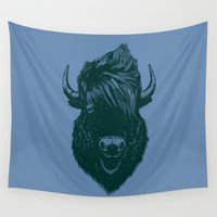 buffalo Wall Tapestries featuring Mohawk buffalo by barmalisiRTB