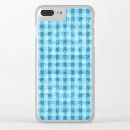 Aqua Blue Velvety Gingham Plaid Texture Clear iPhone Case