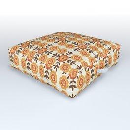 Retro Orange Floral Print Outdoor Floor Cushion