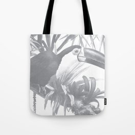 Toucans and Bromeliads - Sharkskin Grey Tote Bag
