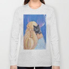 Moon Black Cat Long Sleeve T-shirt