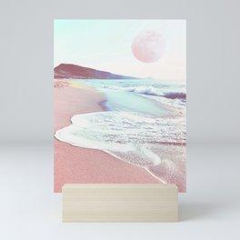 sea, sand and salt with full moon - coastal art Mini Art Print