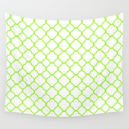 Green, Lime: Quatrefoil Clover Pattern Wall Tapestry