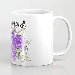 Bridesmaid Wedding Bridal Purple Violet Lavender Roses Watercolor Coffee Mug